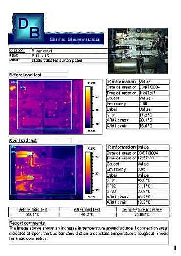 Db site services for Thermal imaging report template